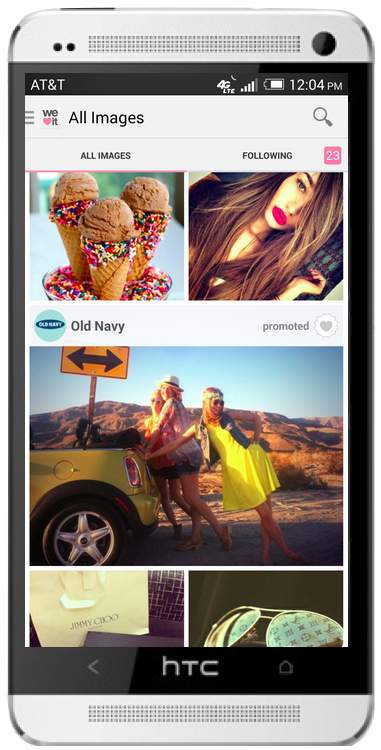 Old Navy's native ad featured in-stream on We Heart It's mobile app
